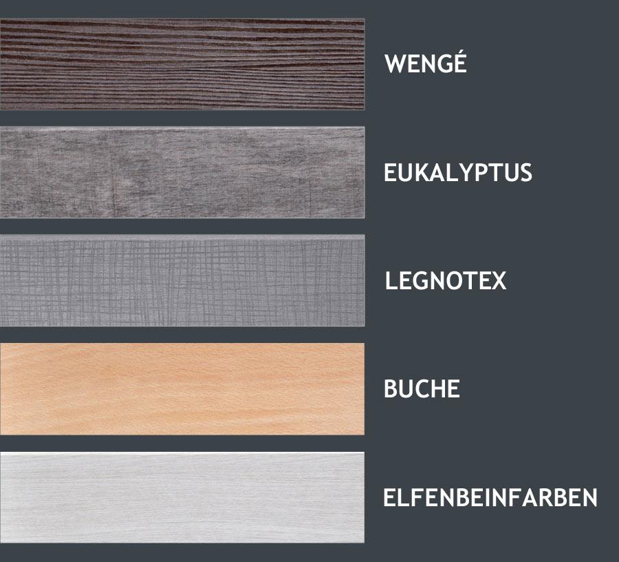 Farbenauswahl für Rahmen und Füße
