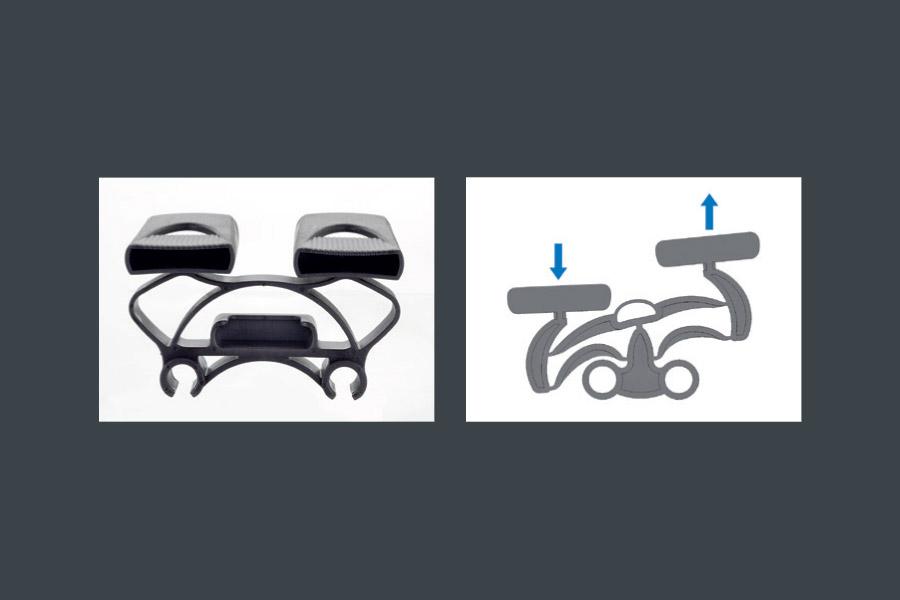 """Detailansicht der interaktiven Aufhängungen für die Unterfederung """"Relaxody Fix"""""""